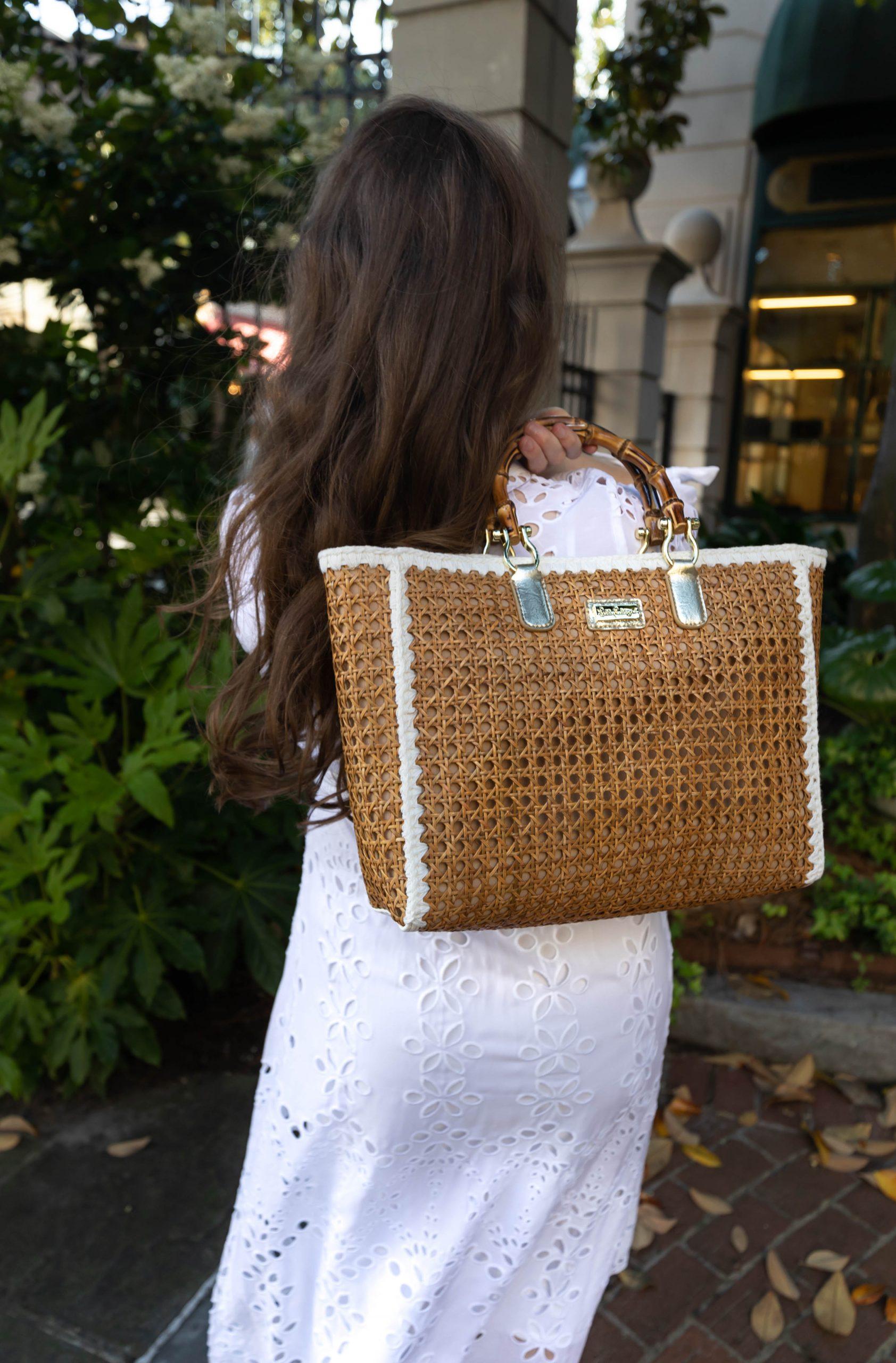 Lilly Pulitzer Amrita Eyelet Midi Dress and Cane Tote Bag Styled by Annie Fairfax in Charleston South Carolina
