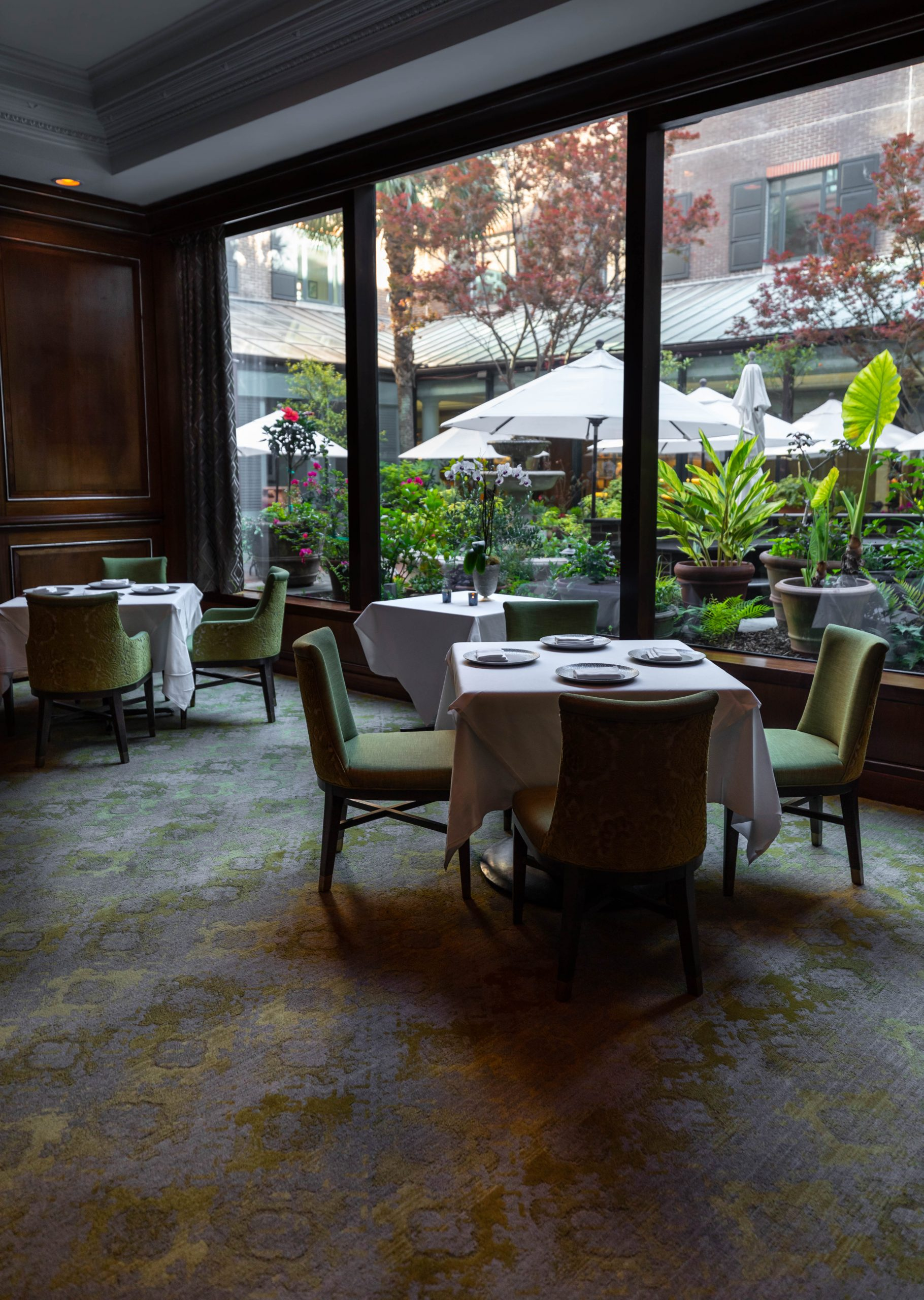 Tables at Charleston Grill Inside Belmond Charleston Place Written and Photographed by Annie Fairfax