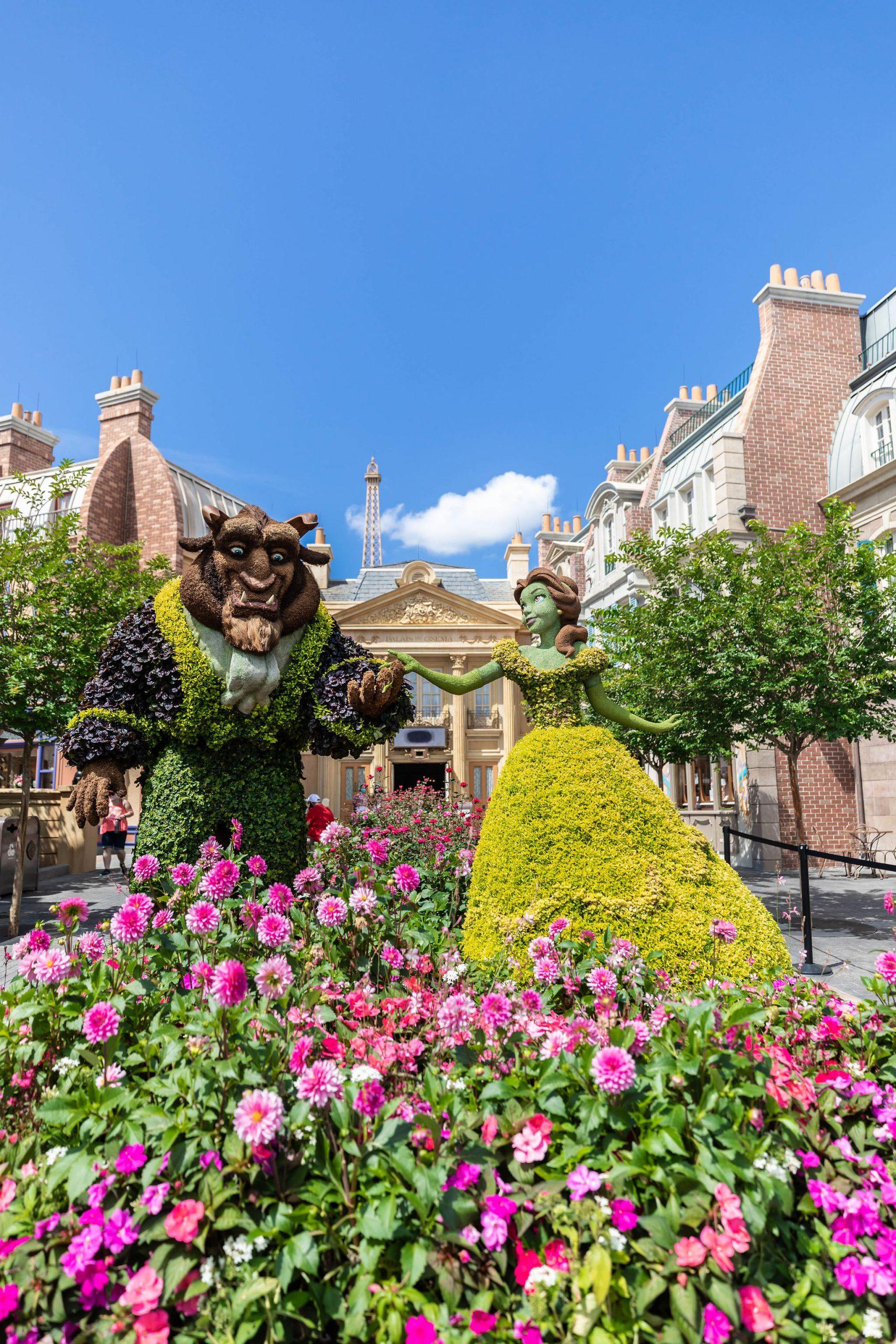 Epcot Flower & Garden Festival Walt Disney World Beauty & the Beast Topiary Photographed by Luxury Travel Writer Annie Fairfax