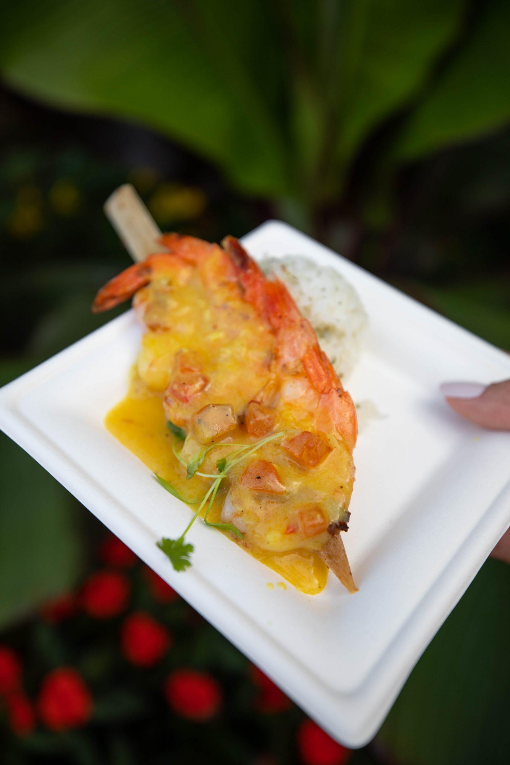 Sugar Cane Shrimp Skewer from La Isla Fresca between Morocco and France at Epcot in Walt Disney World Orlando Florida Photographed by Annie Fairfax
