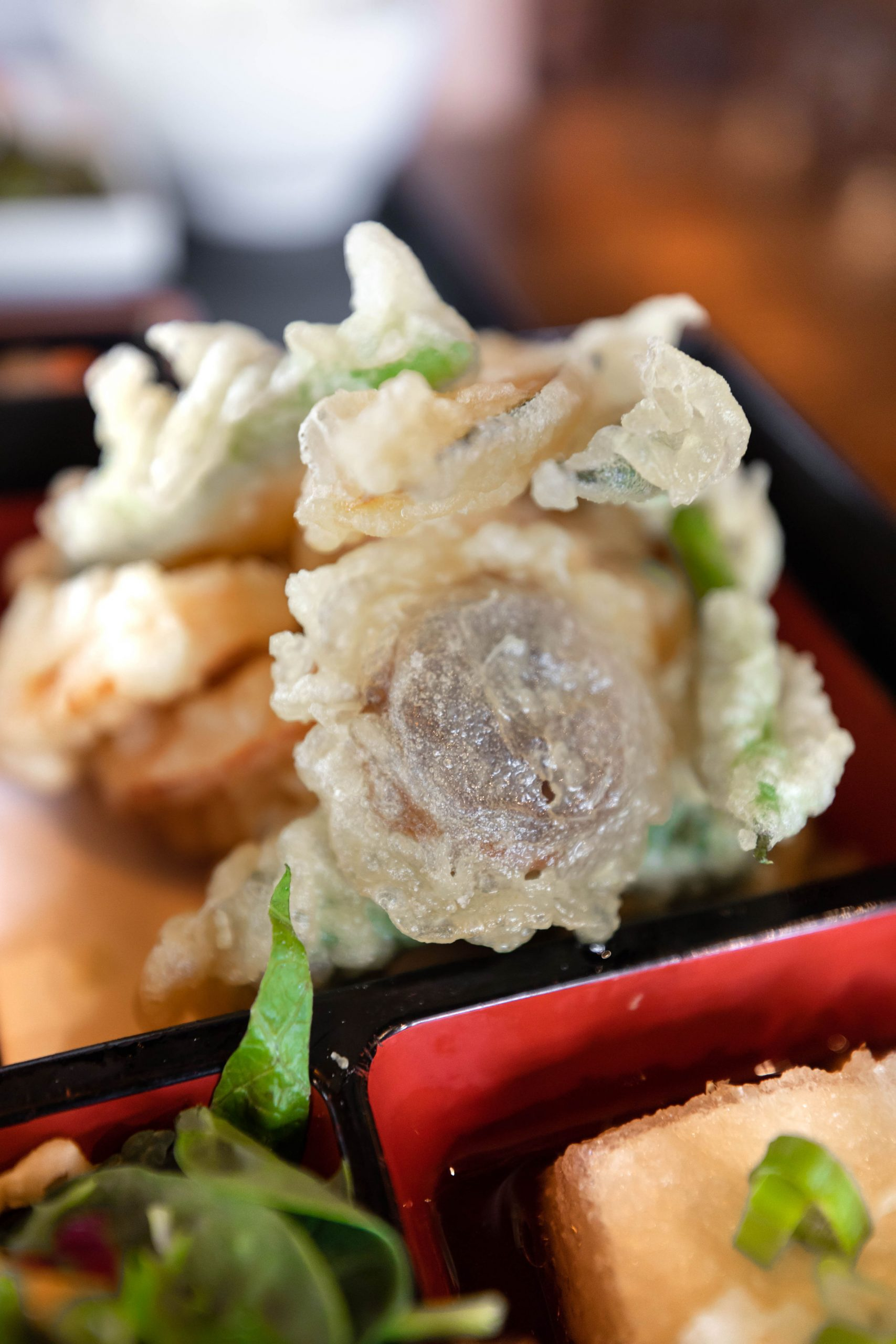 Tempura Shiitake Mushroom at Rakuya Japanese, Chinese Thai Restaurant Bento Box Lunch in Georgetown Washington DC photographed by Luxury Travel Writer Annie Fairfax