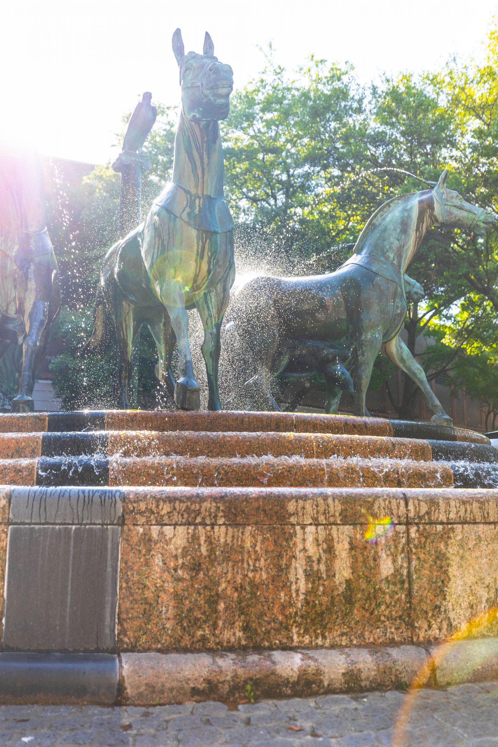Quadriga Bronze Statue at Belmond Charleston Place luxury Hotels of the World South Carolina Resorts Written & Photographed by Annie Fairfax