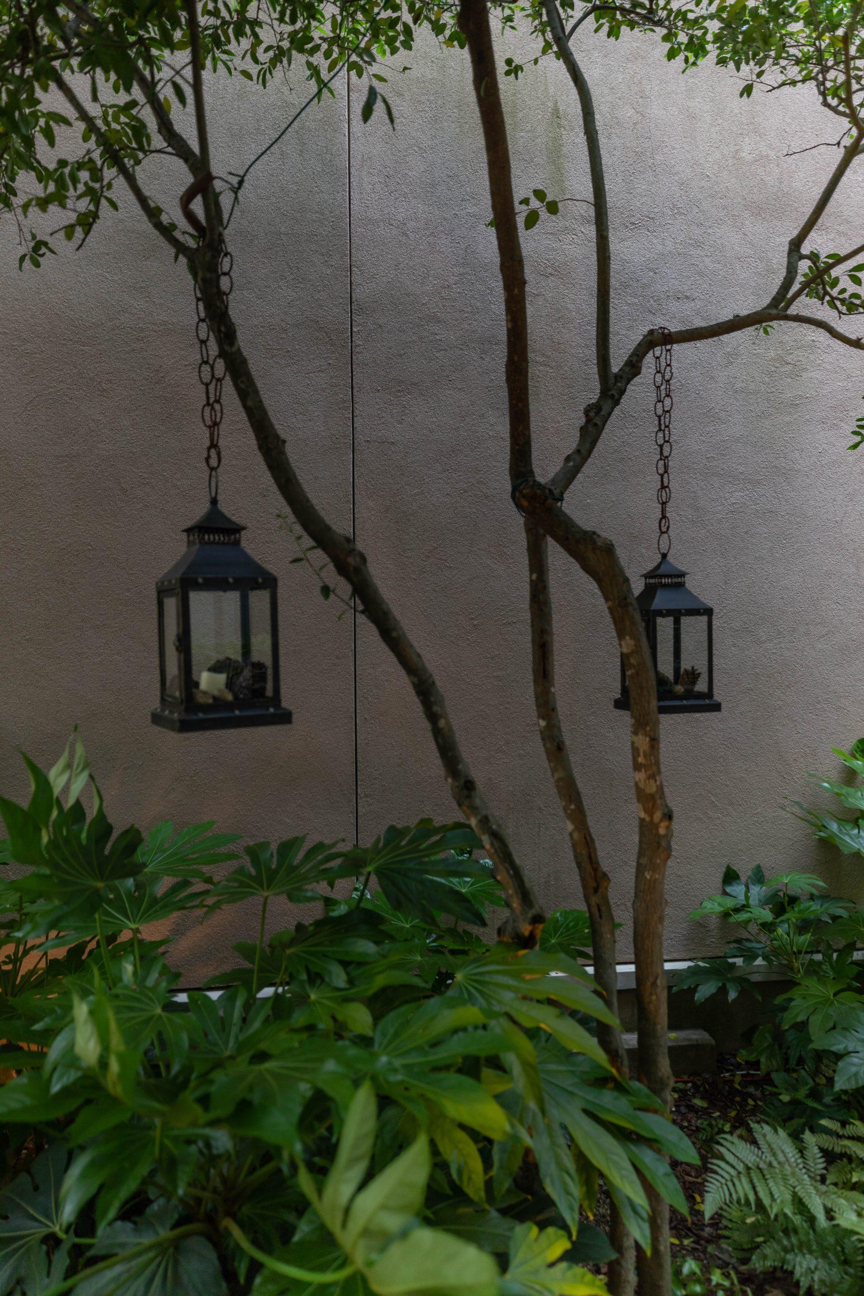 Black Iron Garden Lanterns in Charleston South Carolina by Annie Fairfax