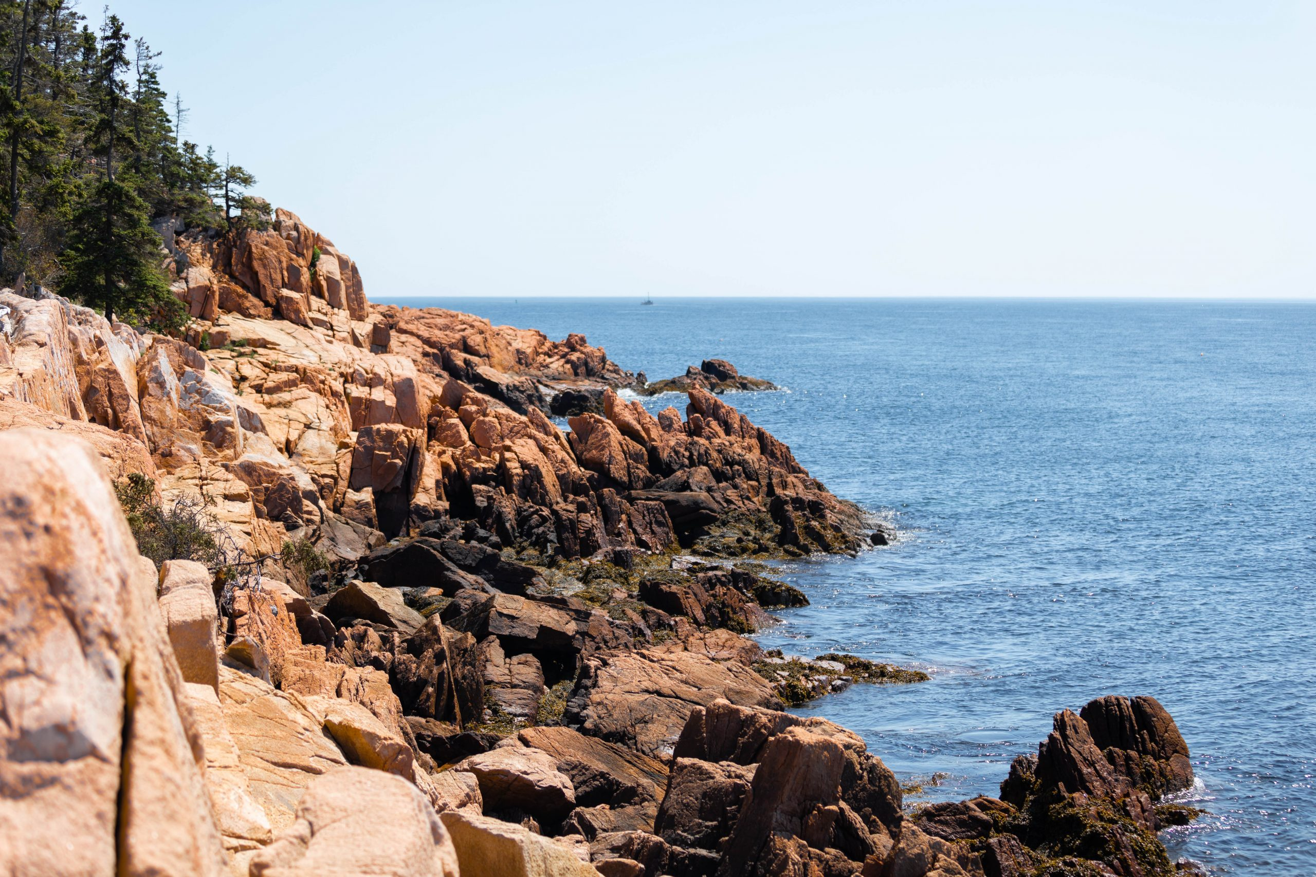 Orange Rocks Along Path to Bass Harbor Head Lighthouse in Acadia National Park Mount Desert Island near Bar Harbor Maine Written and Photographed by Luxury Travel Writer Annie Fairfax