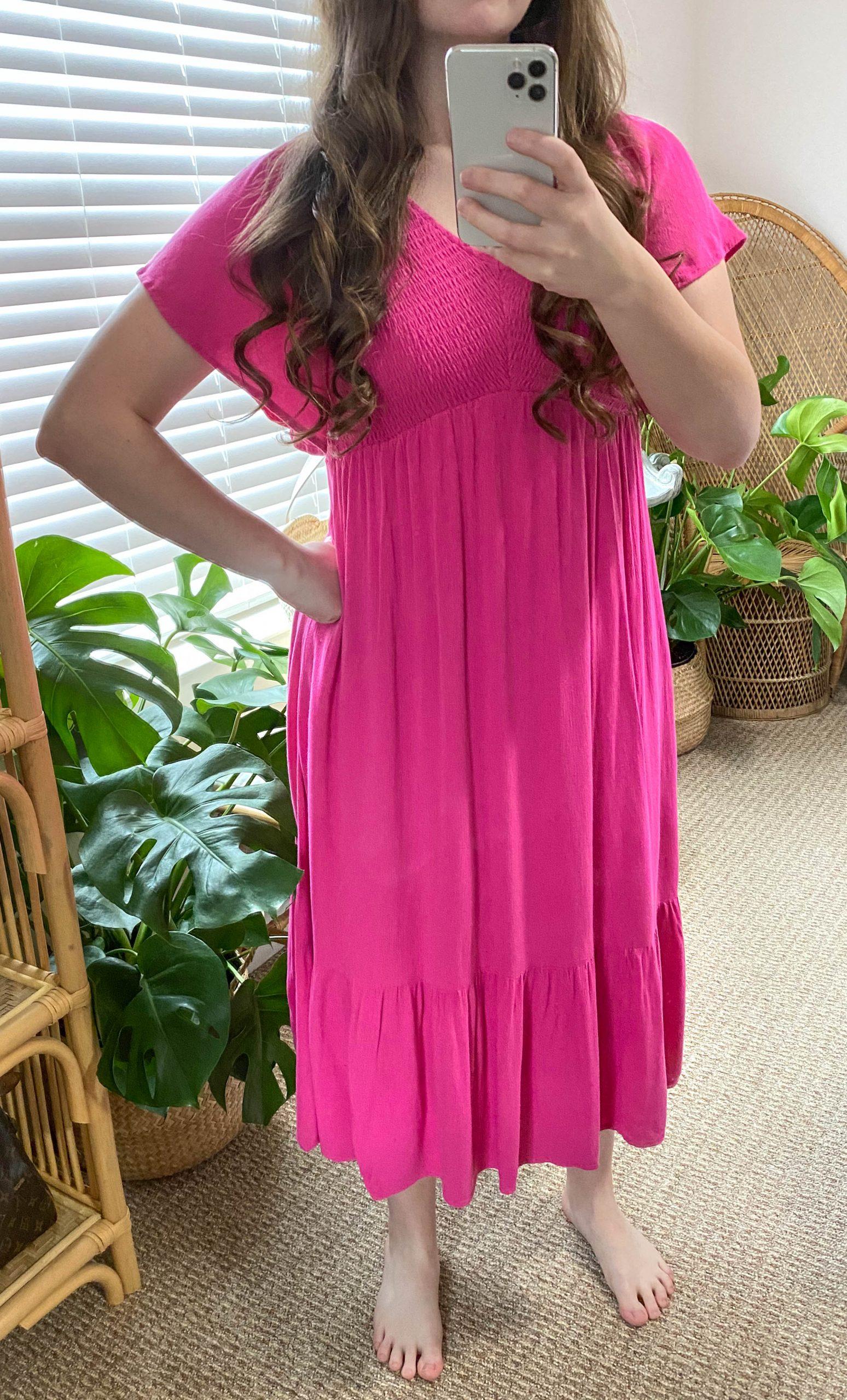 PinkBlush Women's Fuchsia Midi Dress with Flutter Sleeve and Smocking