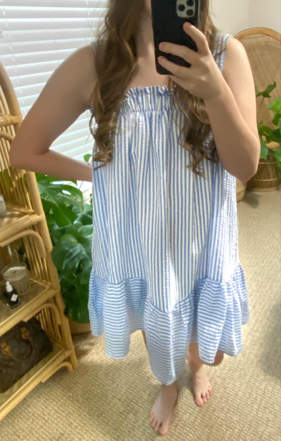 PinkBlush Women's Blue and White Stripe Seersucker Shift Dress Annie Fairfax