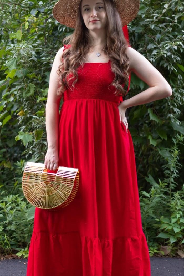 PinkBlush Red Ruffle Sleeve Maxi Dress