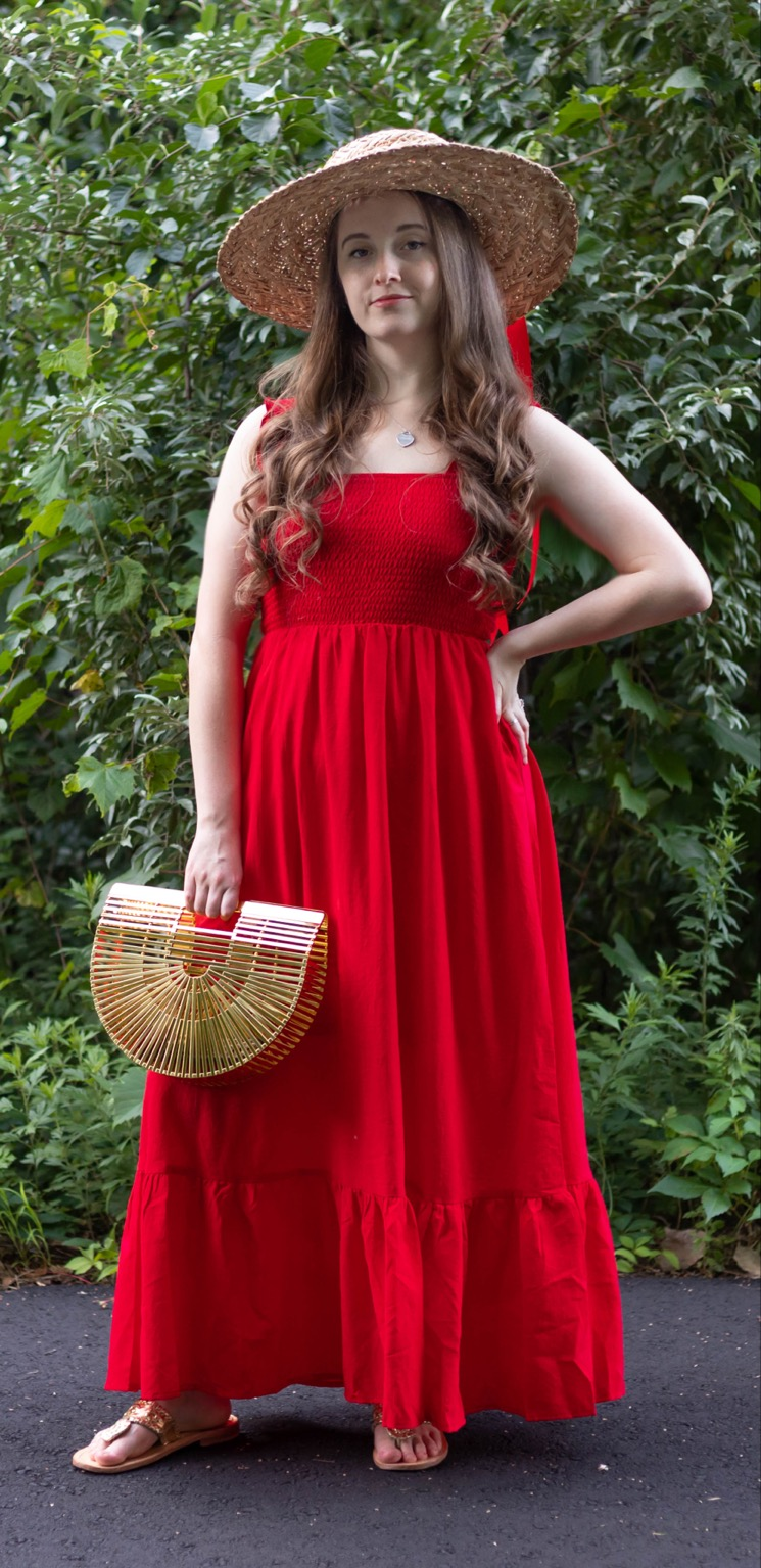 PinkBlush Women's Dress Red Ruffle Maxi Dress with Smocked Waist Straw Hat and Cult Gaia Gold Basket Bag by Annie Fairfax