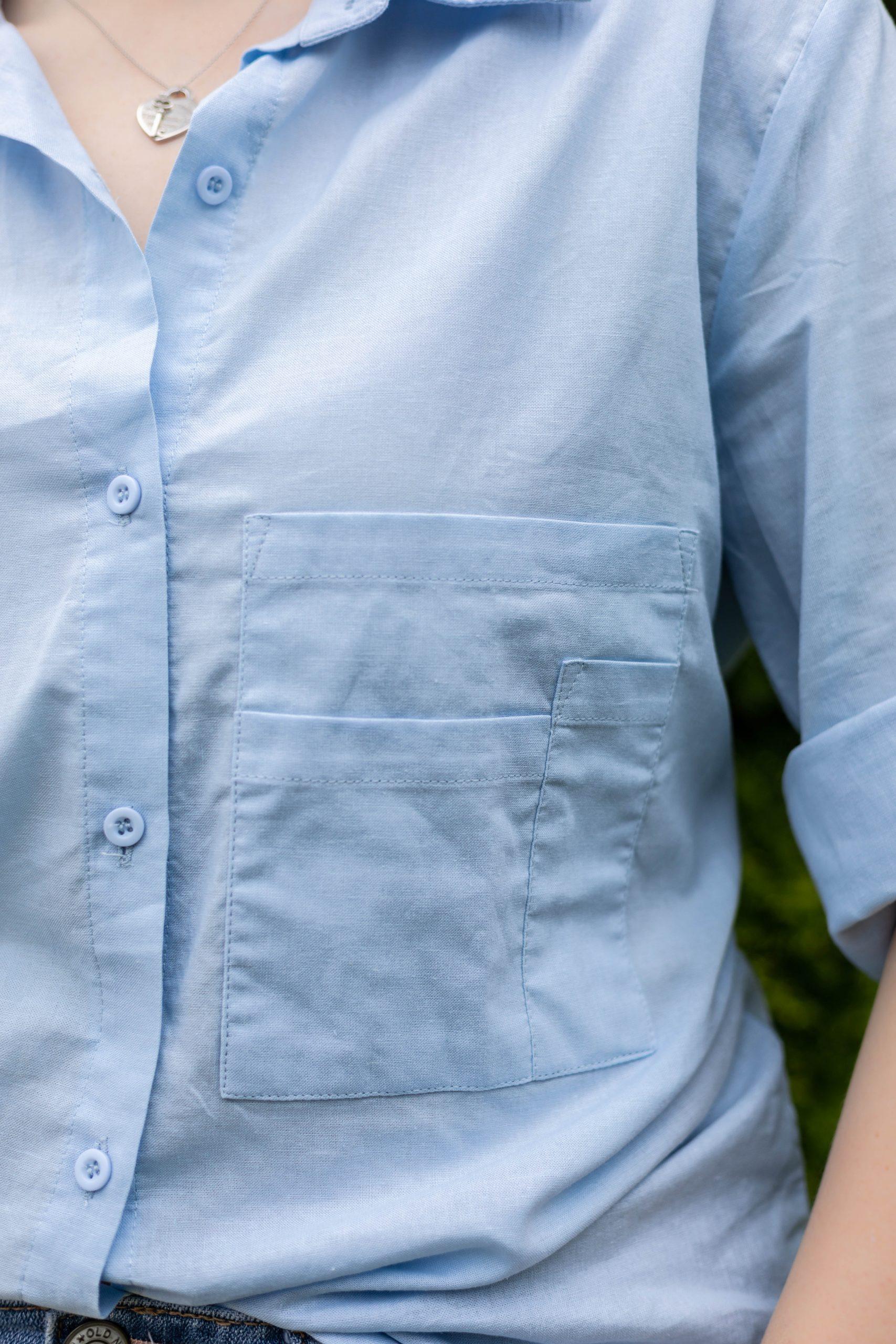 Oversized Linen Button-Up Shirt Worn by Annie Fairfax