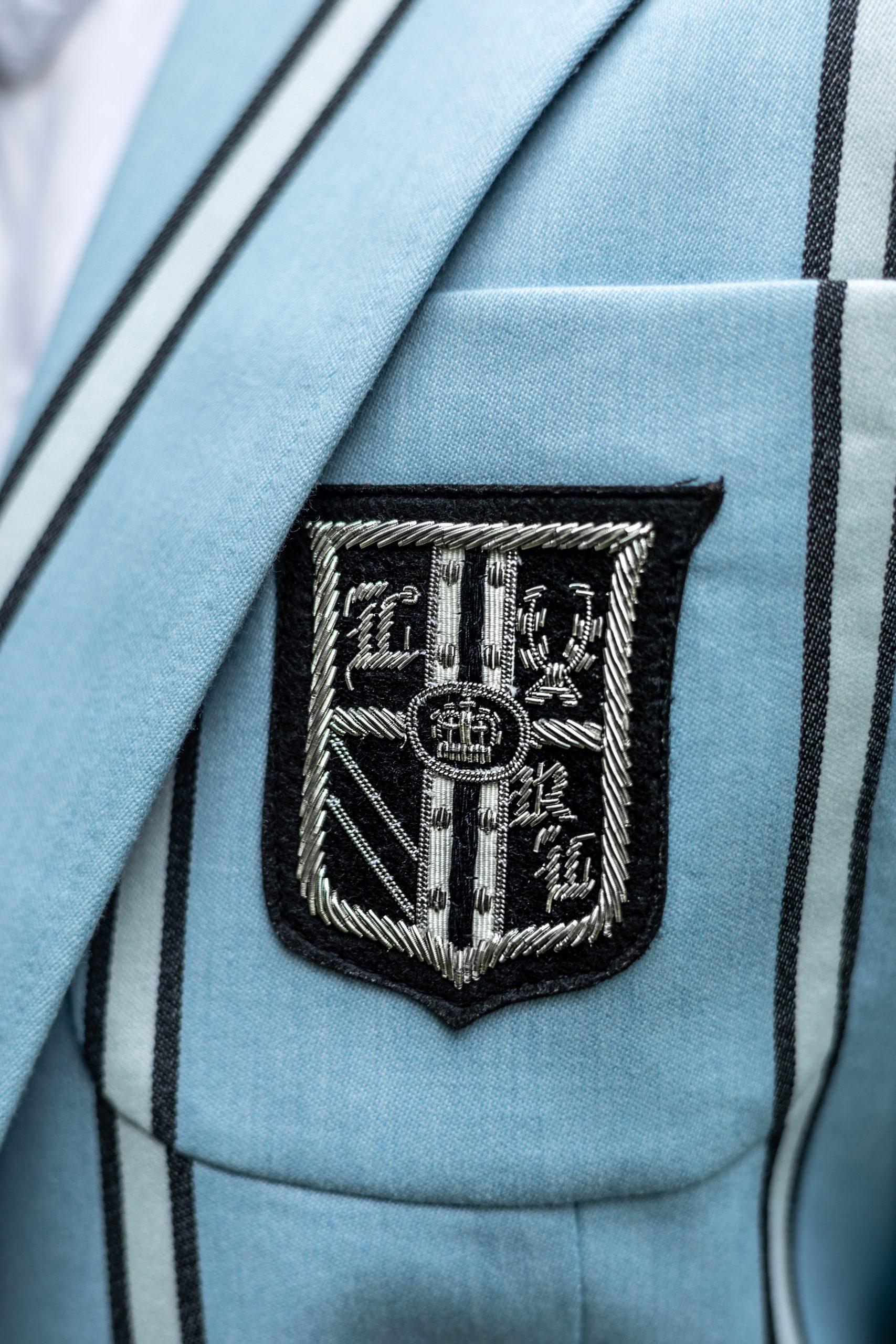 Striped Collegiate Ralph Lauren Blazer Hedge New York Skirt and J. Crew Blouse with Silver Tieks Worn by Annie Fairfax