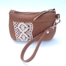 A boho leather and lace Brook Coin Purse