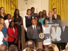 President Barack Obama congratulates the Baylor Lady Bears during a White House ceremony in Washington, D.C., Wednesday, July 18, 2012, for winning the NCAA women's basketball championship. The Baylor University team won 40 straight games, a record for both men and women's teams in NCAA program history. (Annika McGinnis/MCT via Getty Images)