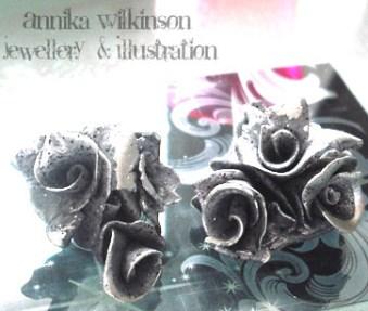 UV clay rose Earrings