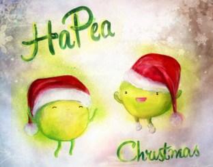 """""""Hapea Christmas"""" Ink and Gouache"""