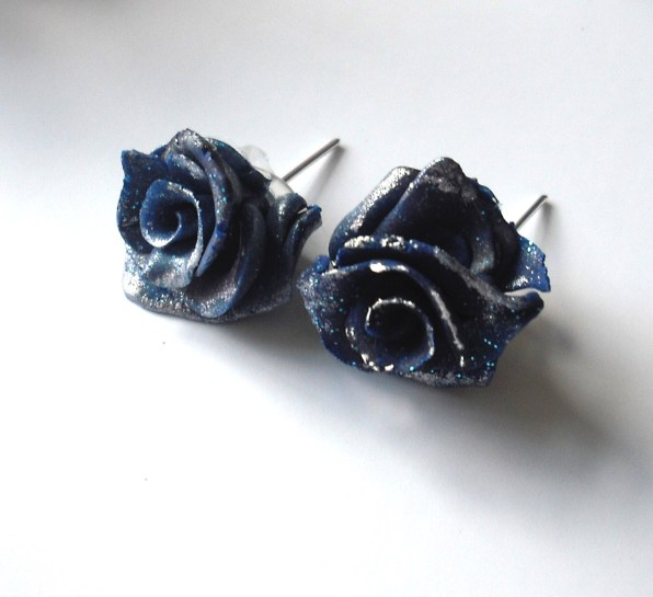 Blue Ice Rose Studs