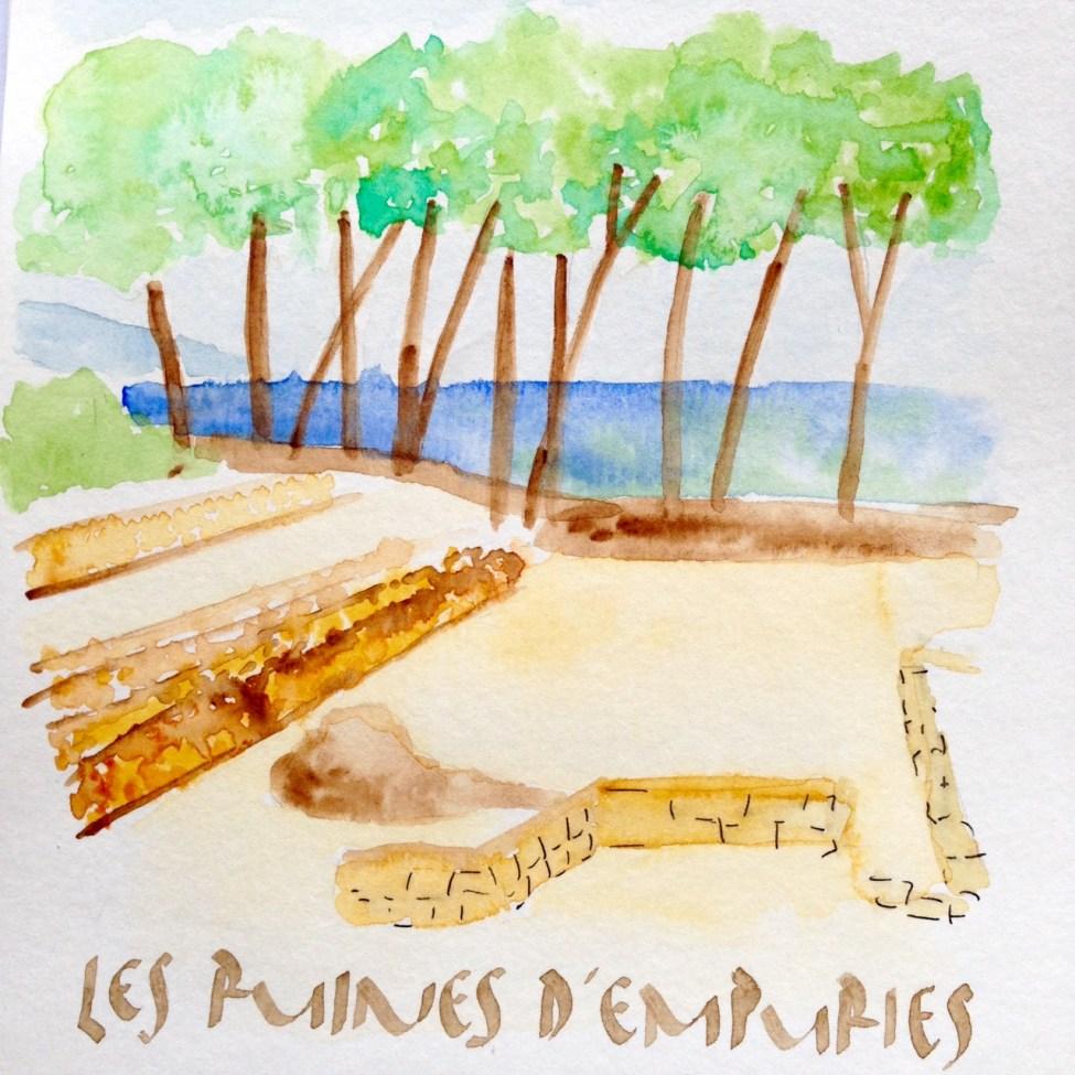 Ruines-Empuries-aquarelle