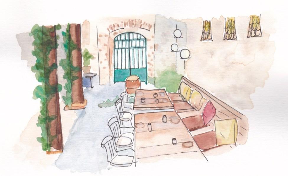 Aquarelle du patio du restaurant Compartir à Cadaquès