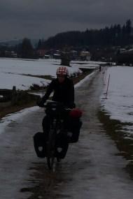 Slippery icy bike path through Emmental