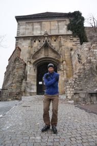 Freezing through spring at the entrance of the castle in Bratislava
