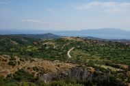Looking down to Assos (Lesbos in the background)