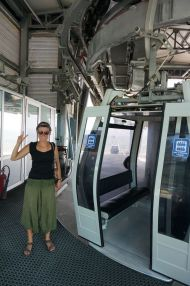 An excited tourist on the cable car to Pergamon