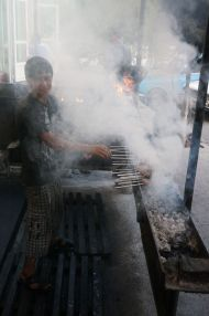 Shashlyks being grilled