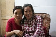 Our couchsurfing host Wu Min (R) and her sister, Wu Pin (L)