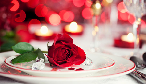 romantic red rose dinner