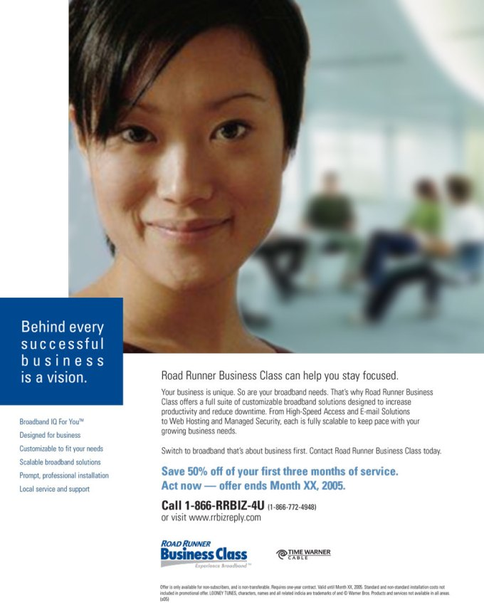 Road Runner Business Class (print ad)