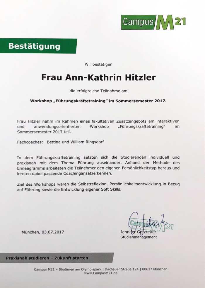 """Ann-Kathrin Hitzler nahm am Workshop """"Führungskräftetraining"""" teil."""