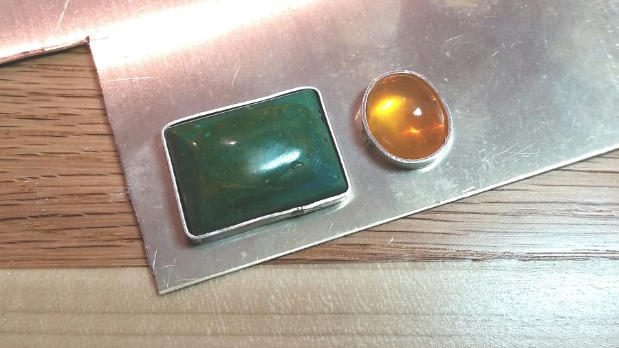 Chrysacolla and Opal Pendant laid out