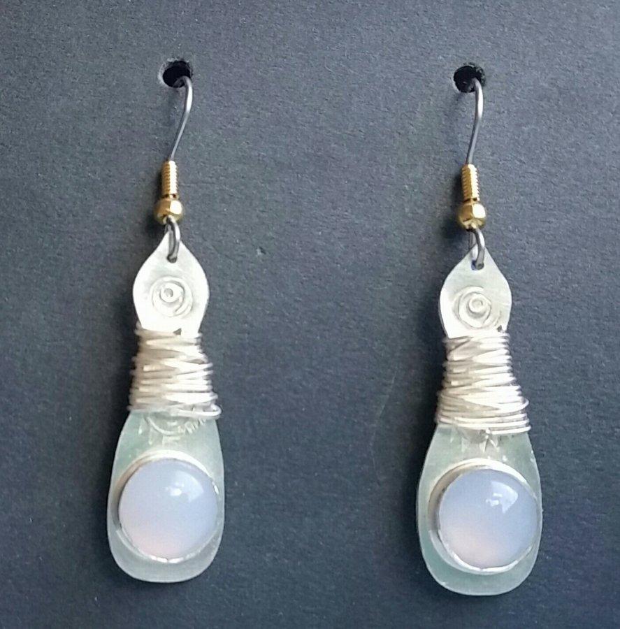 Moostone & Silver Earrings