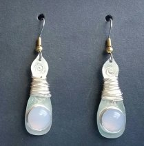 Moostone & Silver Earrings