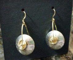Hollow Roll-printed Sterling Silver earrings with gold-filled trim