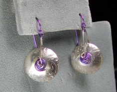 Hollow Roll-printed Sterling Silver earrings with niobium trim