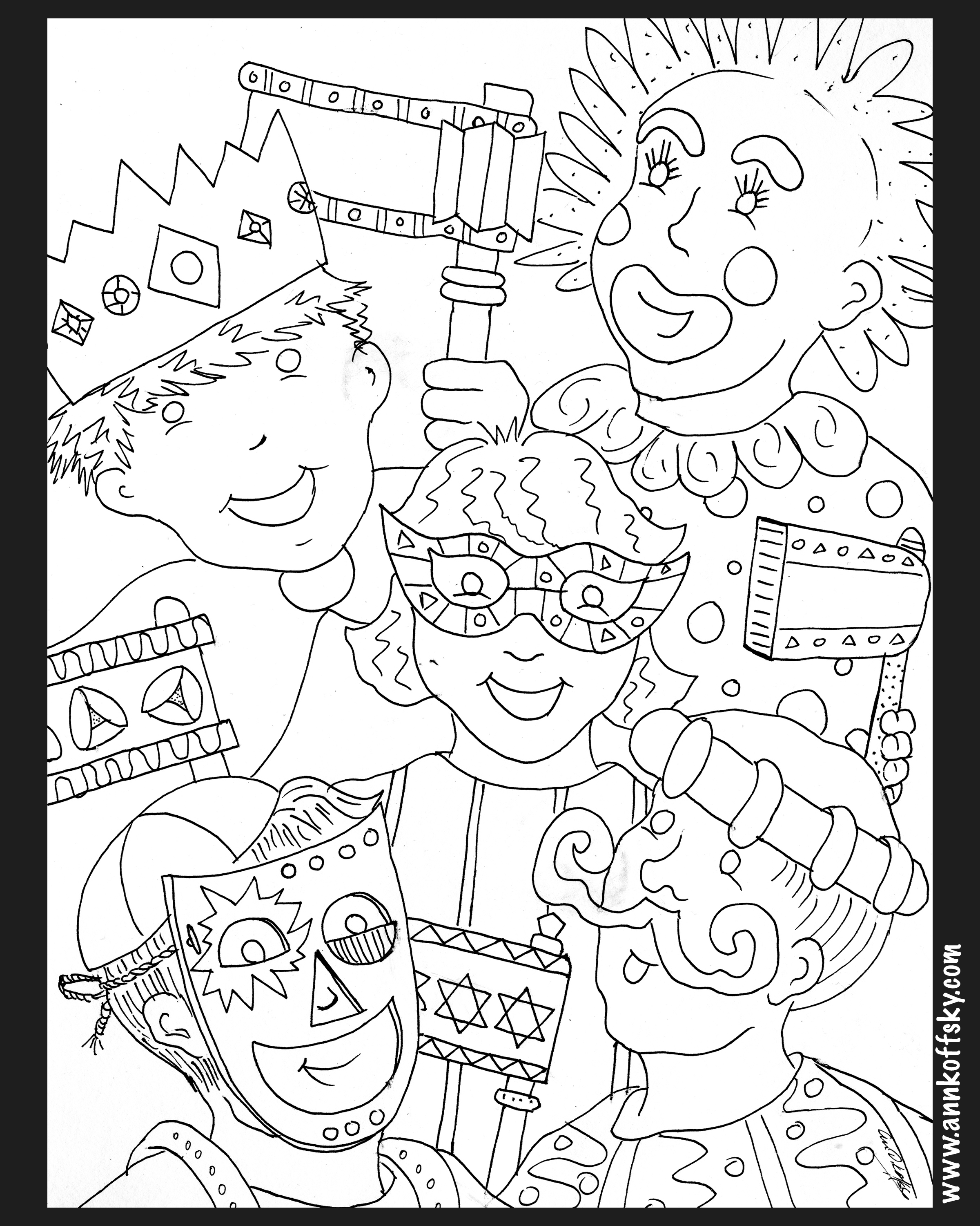 Purim Coloring Page