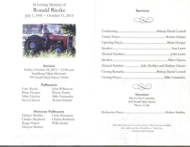 Ron Rieske's Funeral Program 001