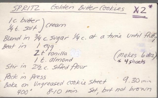 Cookie Recipe, Spritz