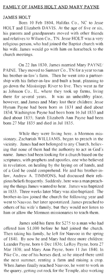 Holt, James & Mary History 1