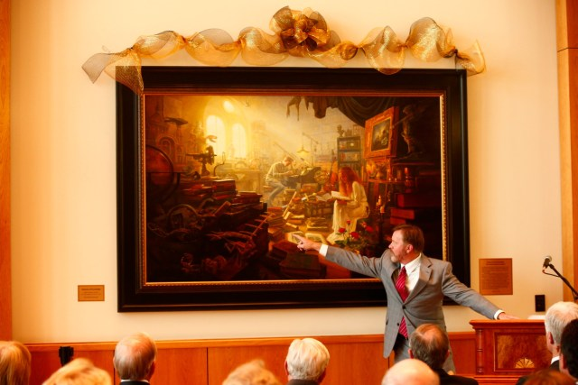 """1508-64 181 1508-64 Greg Olsen Painting Unveiling of Greg Olsen's new painting """"Treasures of Knowledge"""" that will be displayed in the family room of the Gordon B. Hinckley Visitors and Alumni Center. The painting was commissioned by Leo and Annette Beus. August 19, 2015 Photo by Jaren Wilkey/BYU © BYU PHOTO 2015 All Rights Reserved photo@byu.edu  (801)422-7322"""