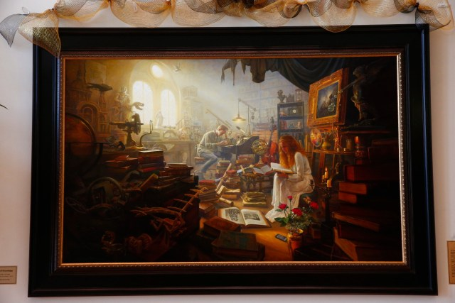 """1508-64 378 1508-64 Greg Olsen Painting Unveiling of Greg Olsen's new painting """"Treasures of Knowledge"""" that will be displayed in the family room of the Gordon B. Hinckley Visitors and Alumni Center. The painting was commissioned by Leo and Annette Beus. August 19, 2015 Photo by Jaren Wilkey/BYU © BYU PHOTO 2015 All Rights Reserved photo@byu.edu  (801)422-7322"""