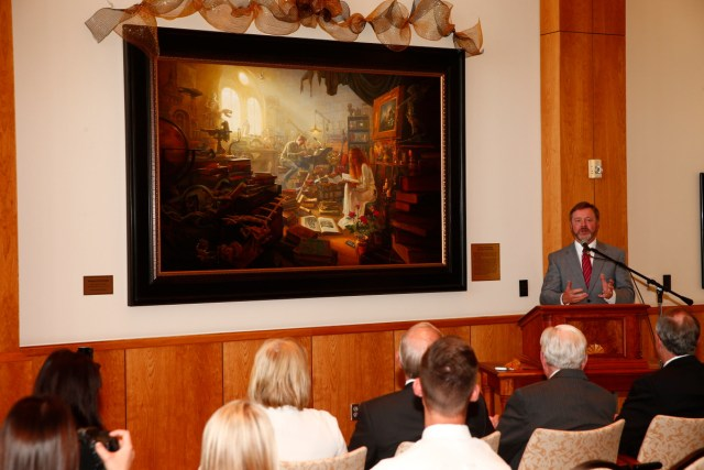 """1508-64 149 1508-64 Greg Olsen Painting Unveiling of Greg Olsen's new painting """"Treasures of Knowledge"""" that will be displayed in the family room of the Gordon B. Hinckley Visitors and Alumni Center. The painting was commissioned by Leo and Annette Beus. August 19, 2015 Photo by Jaren Wilkey/BYU © BYU PHOTO 2015 All Rights Reserved photo@byu.edu  (801)422-7322"""