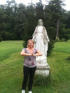 Me in front of the OLH Virgin Mary, Highland Lake Inn, Summer 2013