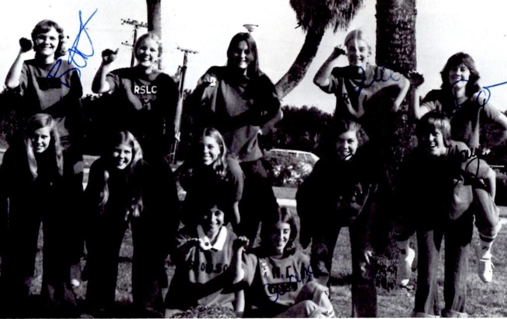 "Rose Scrivano's Loud Crowd: (back row) Sue Ellen ""Bat"" Henderson, Jackie Herold,Diane Schneider, Jill Musson, Rhonda Reichel (middle row) Wendy Phillips, Terri Nevins, Ann Fetterman (me), Susan Sigler, Jeannine Marek (front) Rose Scrivano, Diana Knox"