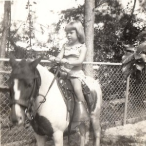 Me riding pony at Elizabeth's birthday party in Miami.