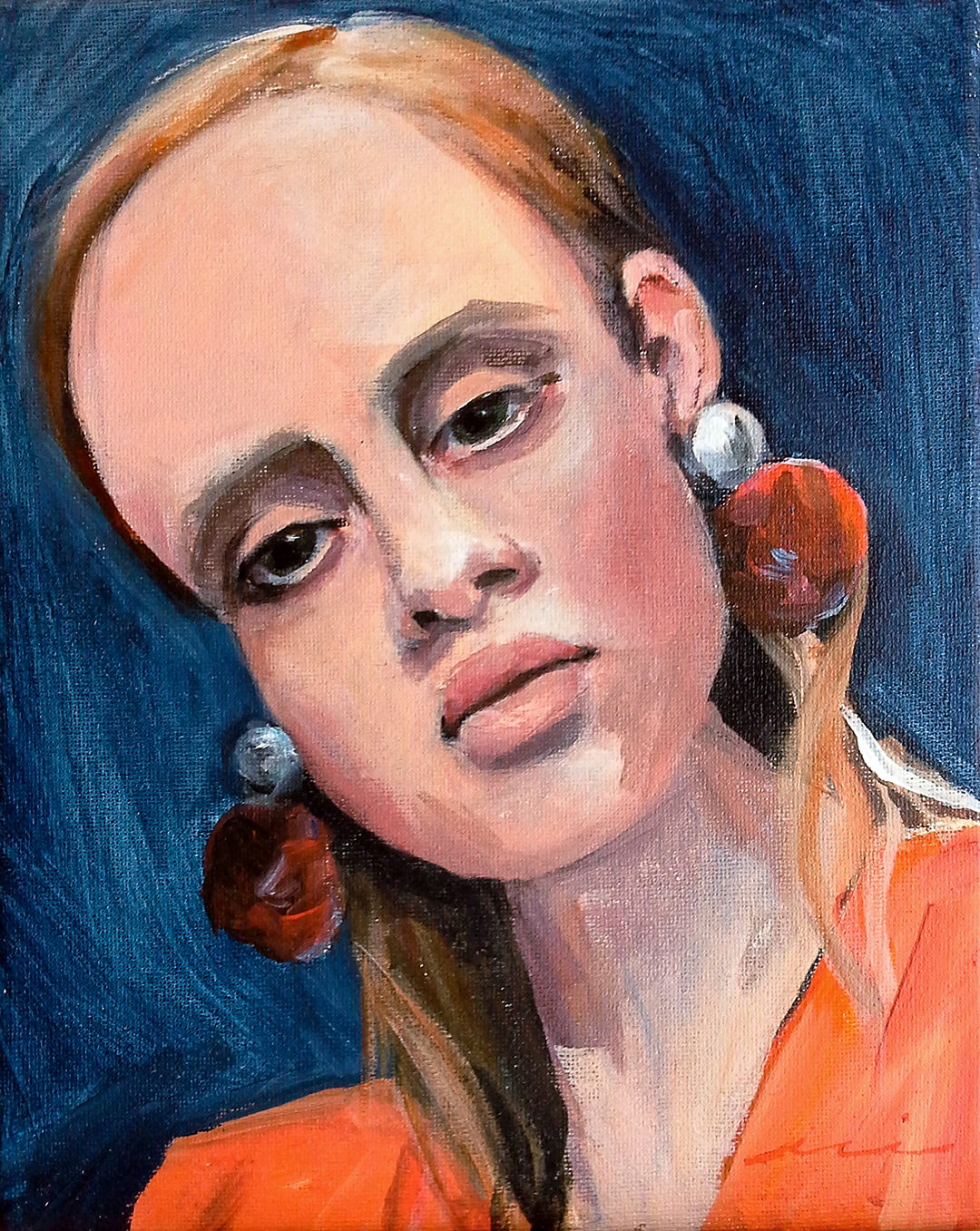 Portrait With Red, Blue, and Orange, 2018