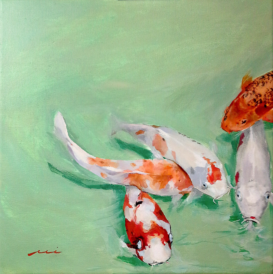Koi in Red, White, and Orange, 2018 (left)