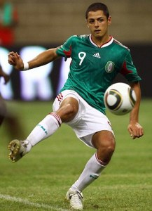 Javier Hernandez of Mexico in action against Angola - Photo MEXSPORT/Back Page Images UK SALES ONLY.....