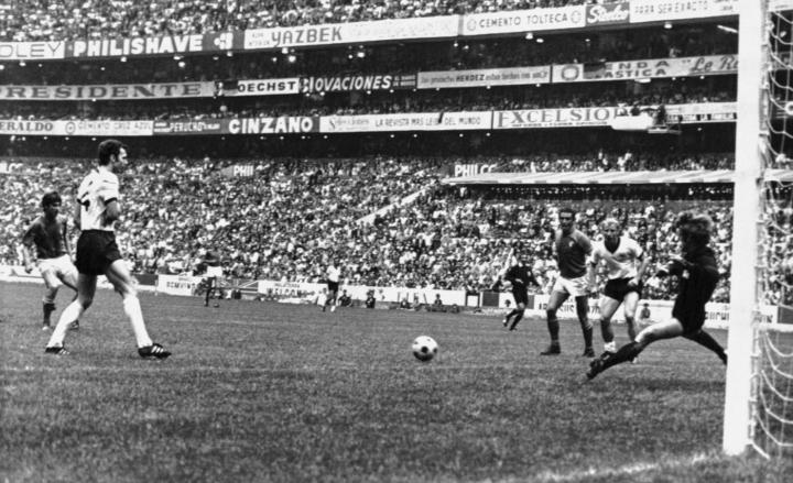 FILE - The June 17, 1970 file photo shows the fourth goal for Italy scored by Gianni Rivera, left, during the Football World Cup semi-fnal between West Germany and Italy in Mexico City, Mexico. From left to right : Rivera, West German Captain Franz Beckenbauer, Italy's Gigi Riva, Germany's Berti Vogts, and German goalkeeper Sepp Maier. Italy defeated West Germany 4-3 after extra time. On Thursday, June 28, 2012 both team face each other again in the second Euro 2012 soccer championship semifinal match. (AP Photo/Foggia)