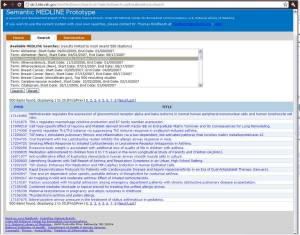 MEDLINE Citations screen
